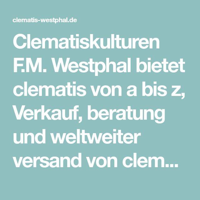 Clematiskulturen F.M. Westphal Bietet Clematis Von A Bis Z, Verkauf,  Beratung Und Weltweiter Versand