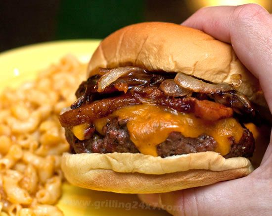 A juicy pub burger #recipe with caramelized onions, bacon, cheddar and @McCormick Spice steak sauce and pub seasoning.