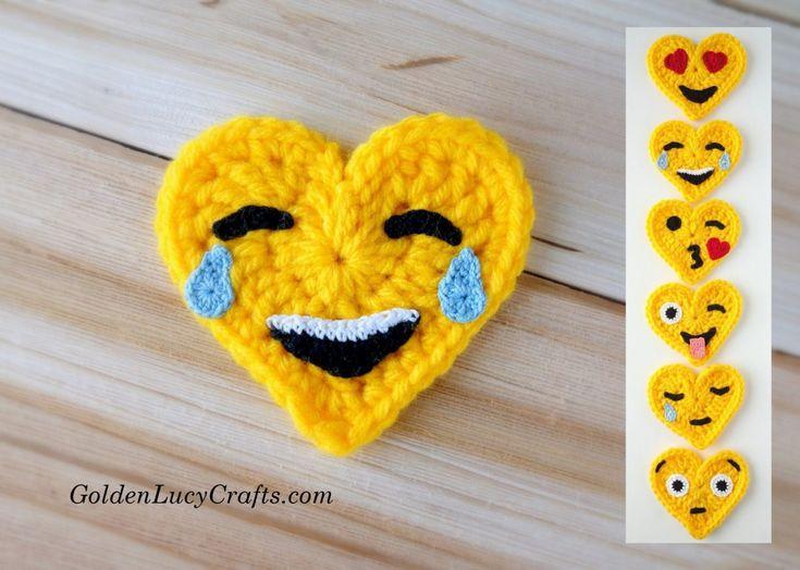 Crochet Emoji Valentines – Tears of Joy, free crochet pattern - GoldenLucyCrafts