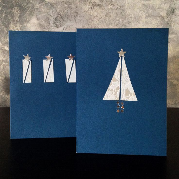 These simple and festive cut-paper cards.