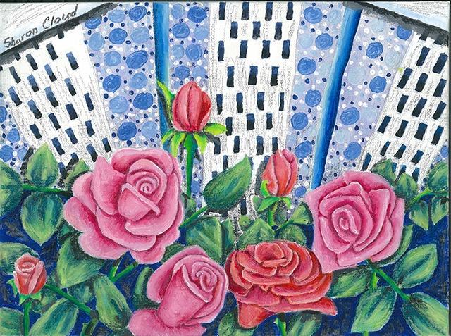 'Rose Garden' 9x12 mixed media