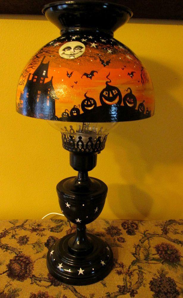 79 best painted lampslampshades images on pinterest vintage original ooak hp metal halloween lamp ryta painting vintage style folk art witch aloadofball Images