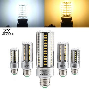 ZX New Aluminum Frame E27 LED 5W 7W 9W 12W 20W 25W No Flicker Cover Corn Light Bulb 85-265V