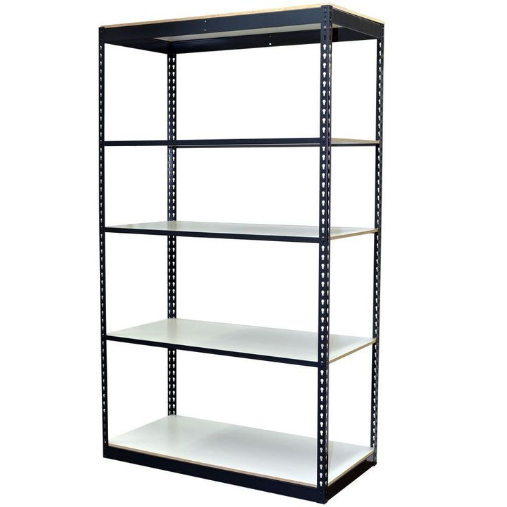72 in. H x 48 in. W x 18 in. D 5-Shelf Steel Boltless Shelving Unit with Low Profile Shelves and Laminate Board Decking, Powder Coated Steel Color Gray