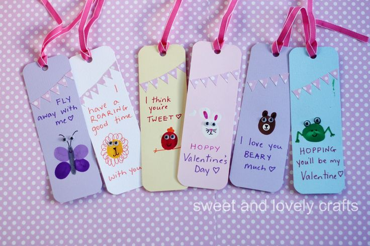 How to make thumb print Valentine Day bookmarks