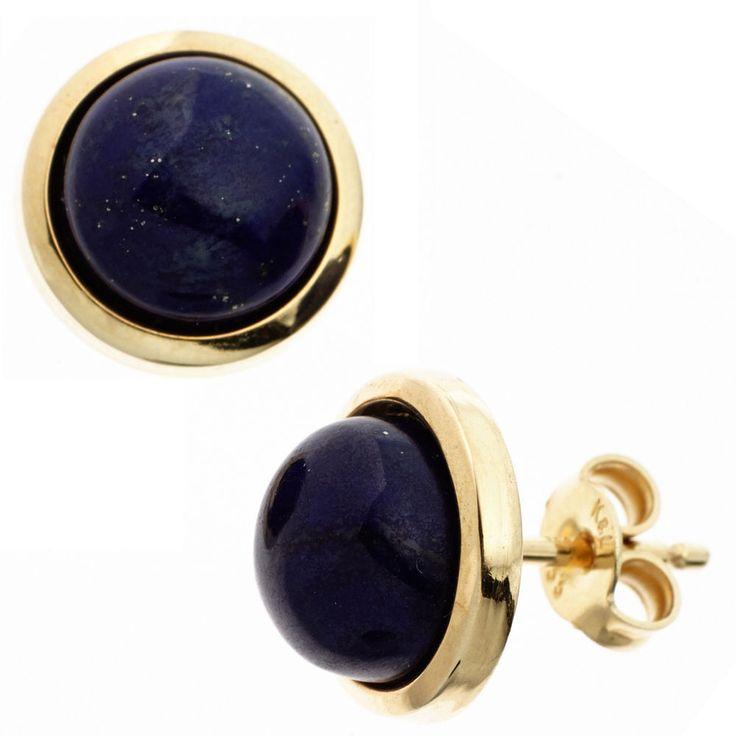 NEU Damen Edelstein Ohrstecker Lapislazuli blau echt Gold 585 Ohrringe 14 Karat