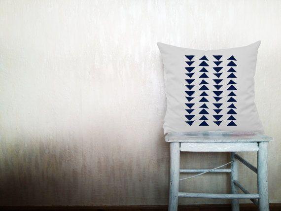 Geometric pillows decorative throw pillows navy triangle pillows chevron throw pillows outdoor pillows arrow pillows 26x26 inches pillows