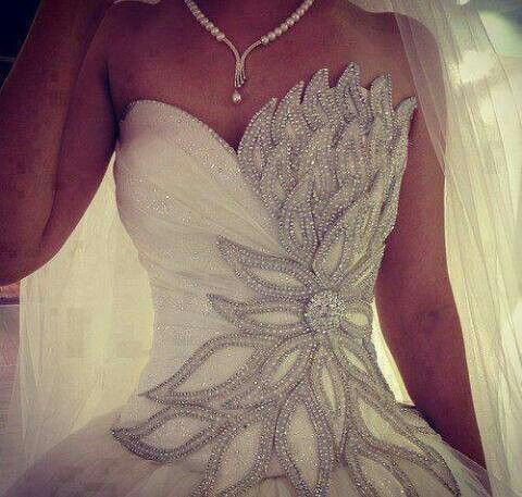 Pretty wedding gown. Would make me feel like a princess! Just add sleeves