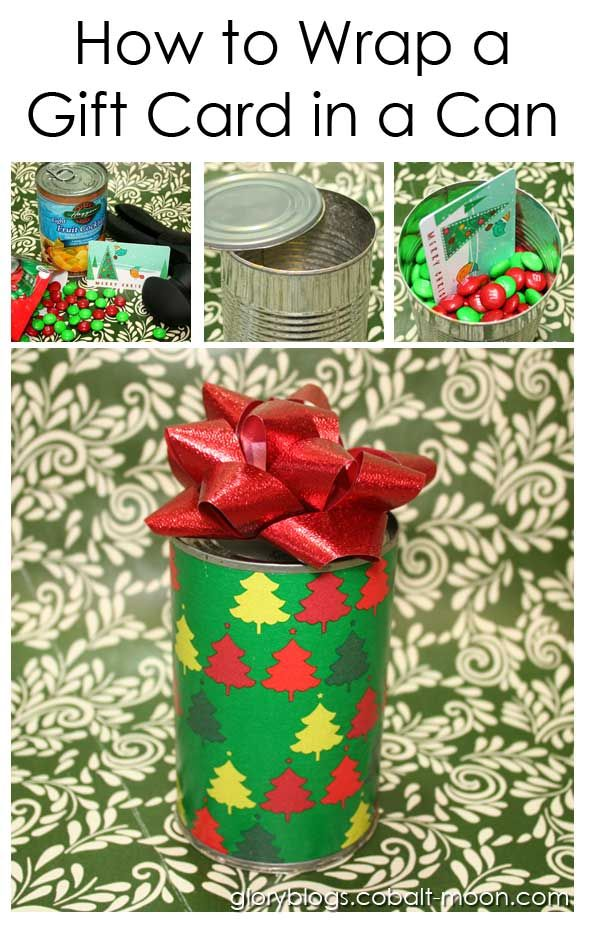 How to Wrap a Gift Card in a Can  Could also be used for small gifts eg. jewelry.  Full instructions.