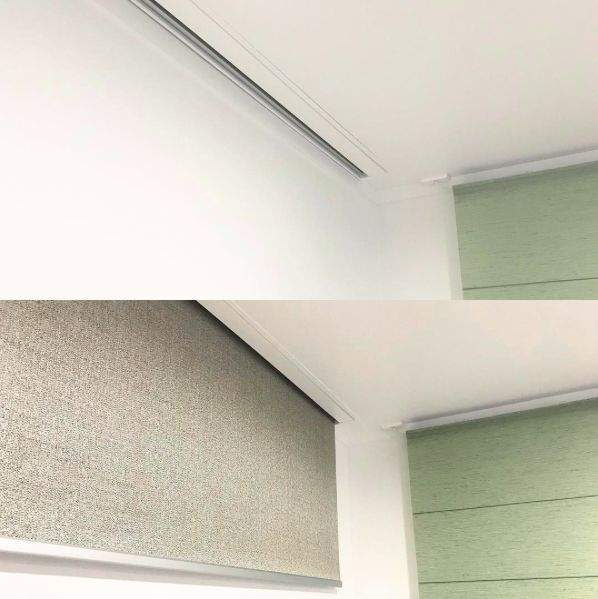 close up of the Halliday & Bailie Recessed Box Extrusion used to hide roller blinds in the ceiling for a flush clean look. This is perfect if you want your blinds hidden when they are rolled up. Have your blinds automated or manual chain control – Blinds Online Ltd – blindsonline.net.nz