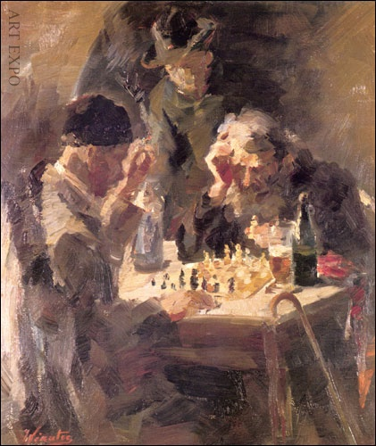 'Chess' by Greek painter Vikatos Spyros (born Argostoli, Kefalonia 1878 – died 6 June 1960 (aged 82) in Athens )