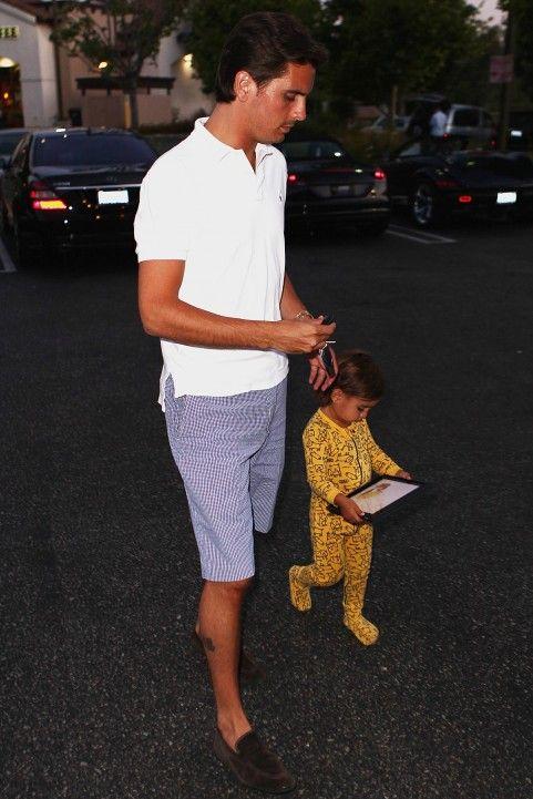 scott disick; lets his child walk around town in footie pjs