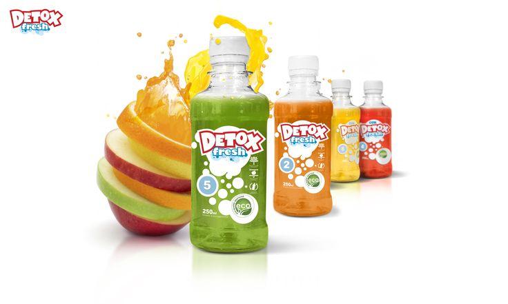 Дизайн этикетки соков Detox fresh