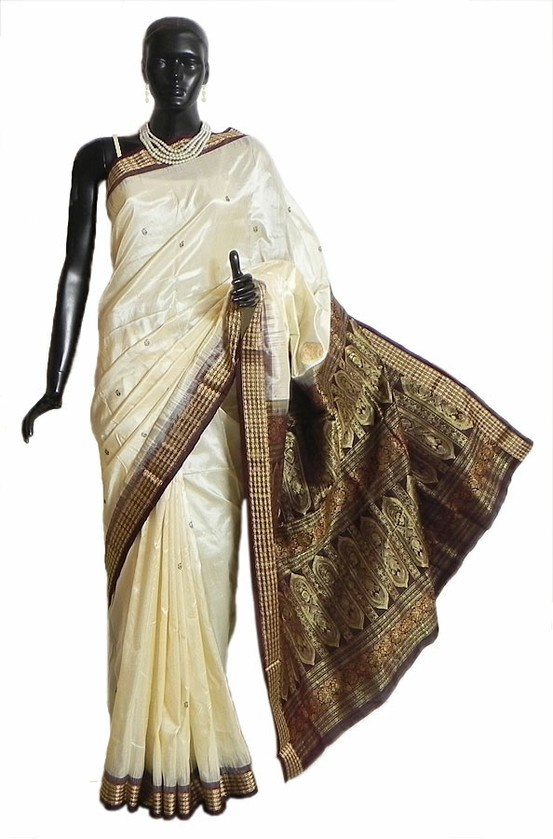 Off-White South Silk Saree with Woven Bomkai Design Pallu and Border in Dark Brown, Rust and Golden Zari