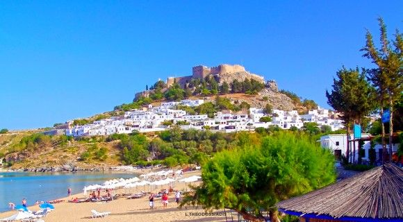 Lindos Castle, Rhodes. Built by the Knights of the Order of St. John, the site for the fort was chosen by the Crusaders for its great vantage point from the top, which afforded a clear 360 degree view of the sea below, allowing them to easily monitor the activities of the enemy and of the pirates.