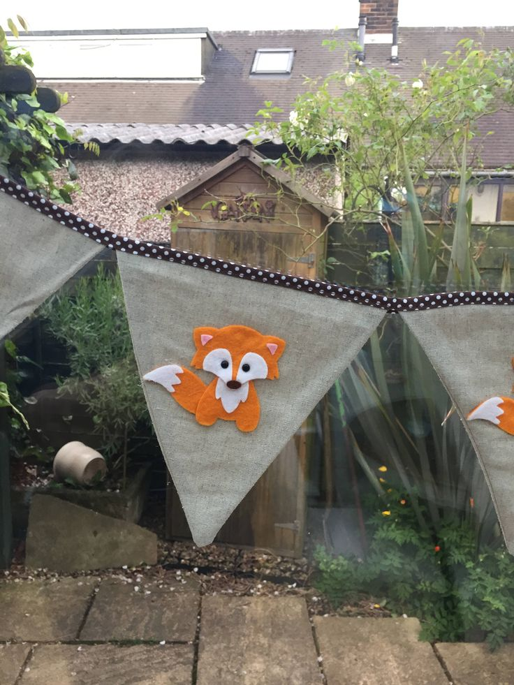 """Thanks for the kind words! ★★★★★ """"I've just received this beautifully handmade bunting for my sons Fox theme birthday party I love it, Thank You x"""" Orli H. http://etsy.me/2FdiI3S #etsy #housewares #homedecor #babyshower #beige #orange #bedroom #bunting #kidsroom #gift"""