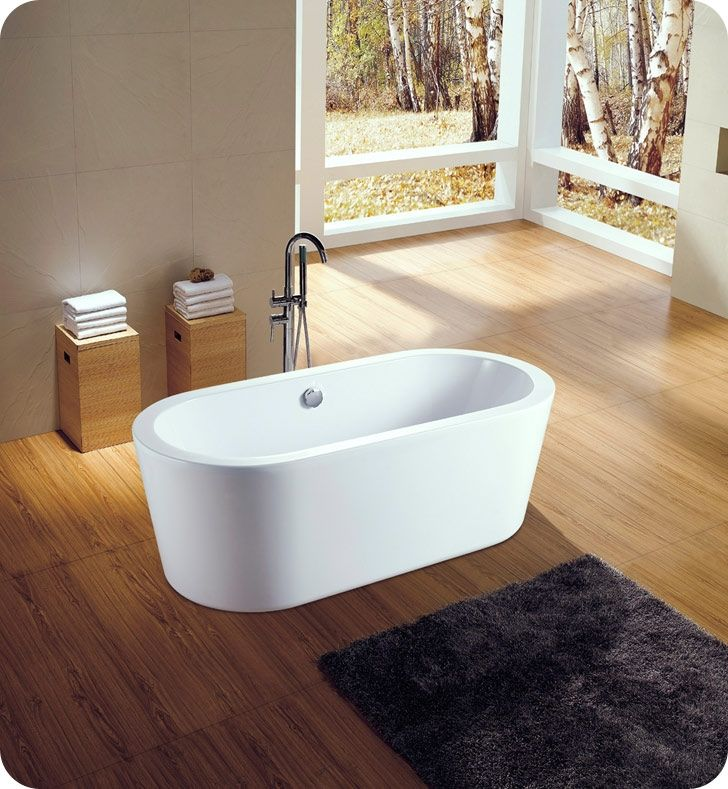 Neptune Amaze oval shaped bathtub is freestanding