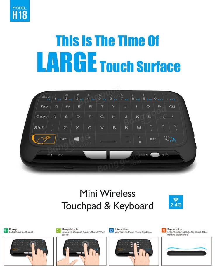 H18 TVボックスMINI用ワイヤレス2.4GHzのタッチパッドミニキーボードのエアーマウスPC