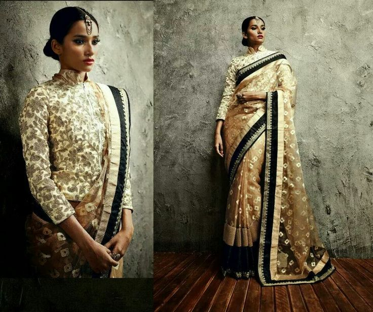 High mandarin collared 3/4 sleeved long full closured embroidered saree blouse