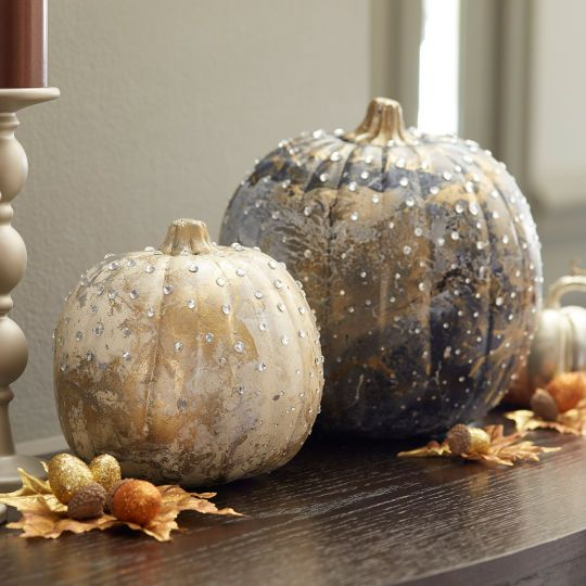 Transform basic craft pumpkins into elegant autumn decor pieces with marbled gloss enamel and rh...