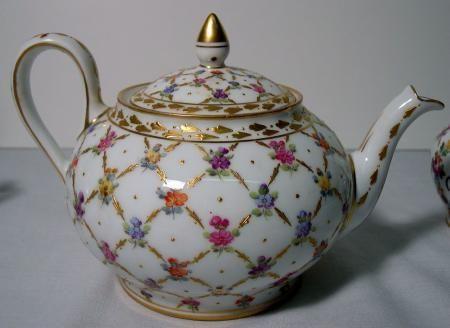 DRESDEN China~MARIE ANTOINETTE 3 Piece TEA SET~Potschappel~CARL THIEME