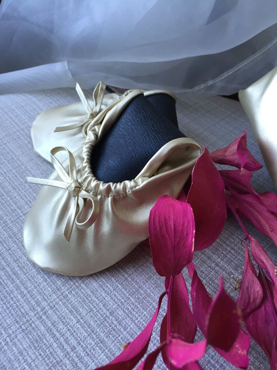 Gold Foldable Flats Rollable Ballet Flats by IvyWeddingCreations