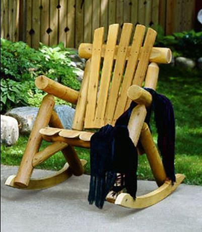Log Rocking Chair Made In USA. American Made Log Cabin Furniture Is  Constructed From Real Cedar Log By Products Of The Log Home Industry.