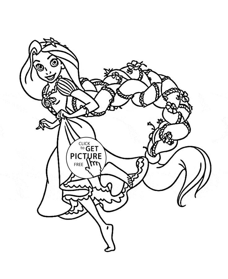 funny princess rapunzel coloring page for kids disney princess coloring pages printables free wuppsy - Tangled Coloring Pages Girls