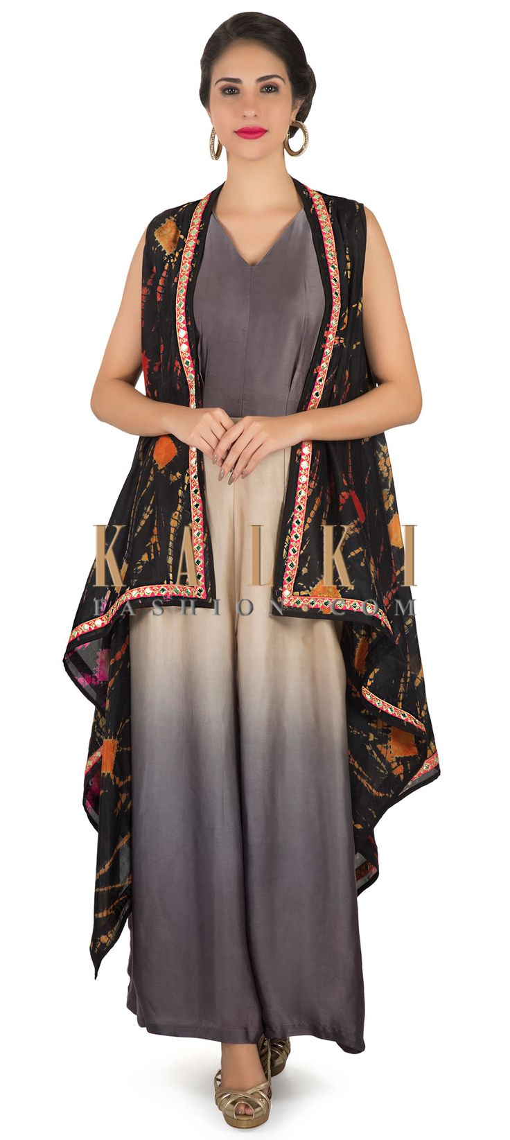 Jumpsuit in grey and cream matched with printed long jacket only on Kalki