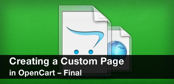 Creating a Custom Page in OpenCart - Final