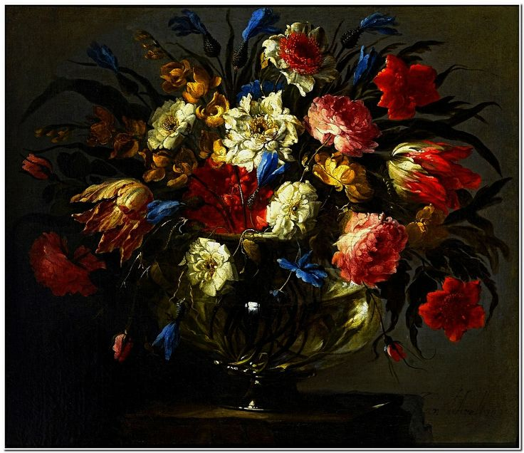 Juan de Arellano (Spanish, 1614-1676), Still Life with Roses, Tiger Tulips, White and Blue Aquilegia, Peonies and Delphinium in the Glass vase, ca.1665-70, Private collection