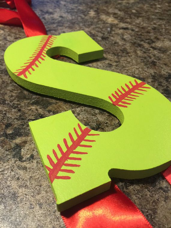 Softball Painted Letter S|Wooden Softball Decor|Softball Bow Holder|Hair Bow Holder|Softball Room Decor|Summer Gifts|Softball Gifts