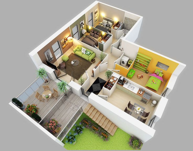 10 Awesome Two Bedroom Apartment 3D Floor Plans Decor - 3d house plans