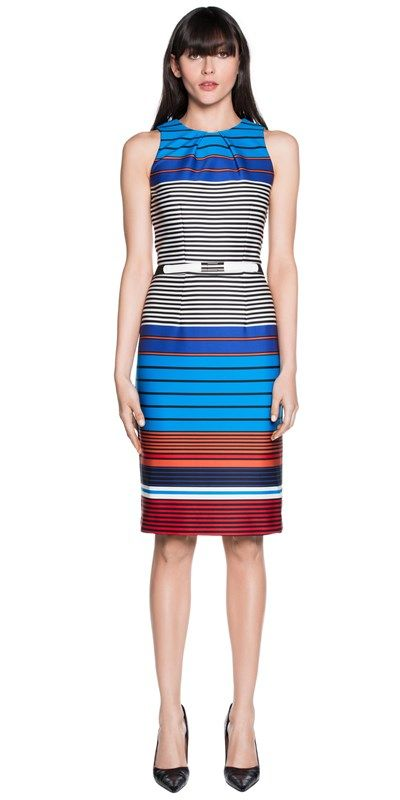 CUE - Bonded Stripe Fitted Dress