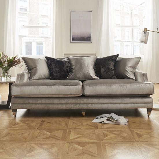 Preston 4 Seater Sofa In Pewter Velvet With Dark Wooden Legs ...