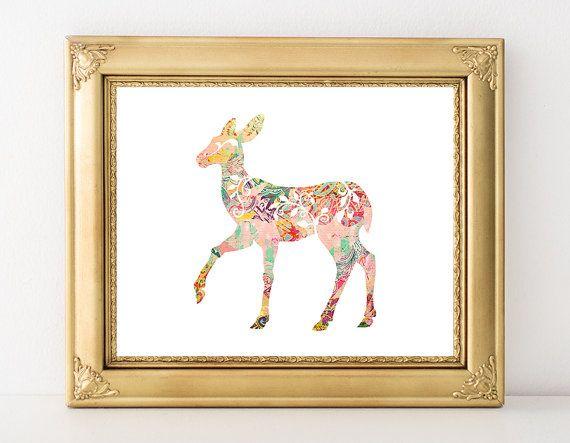 $5 Deer Printable Art Print Pastel Nursery Decor Fawn Print Woodland Animal Boho Decor Deer Wall Art Pink Nursery Decor 8x10 Instant Download