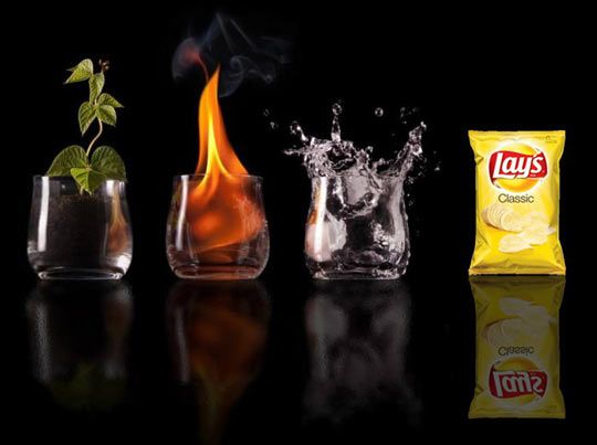 The Four Elements - Wait, I thought potato chips fell into the four basic food groups of lard, sugar, gluten, and salt...  I'm sure those four have changed a few times over the years too.