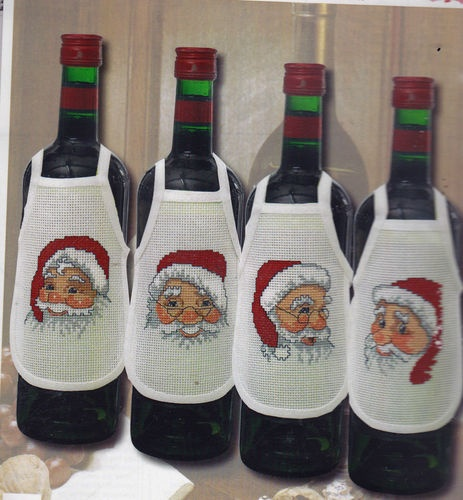 Santa Christmas Wine Bottle Apron Cross Stitch Kit 4 Designs Permin