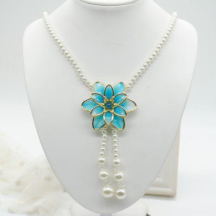 Мода заявление нитка жемчуга ожерелья цепи для женщин ювелирные изделия перлы Женский большой цветок Кулон ожерелье