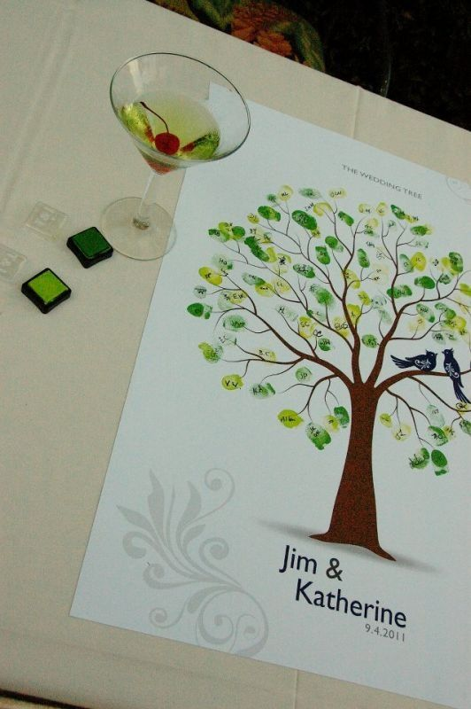 tree themed wedding | Thumbprint tree - also green and blue theme | Wedding Dreams