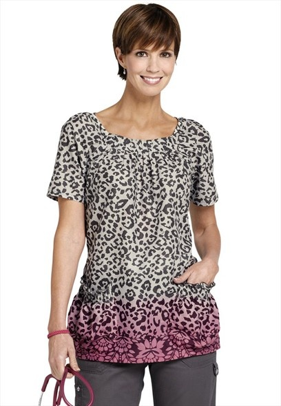 Koi Dakota Cheetah Chic Pink scoop neck print scrub top.