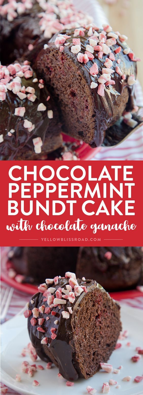 Chocolate Peppermint Crunch Bundt Cake
