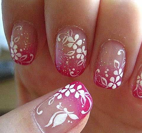 Resultado de imagen para uñas decoradas con escarcha rosada