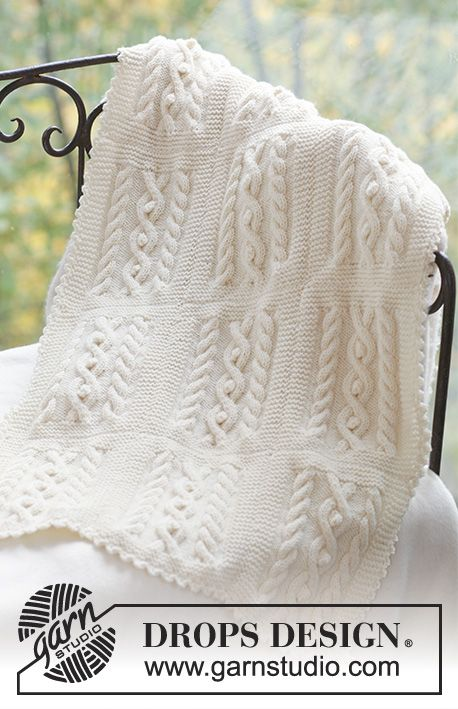 Set of knitted hat and blanket with cables, for baby and children, in DROPS Merino Extra Fine
