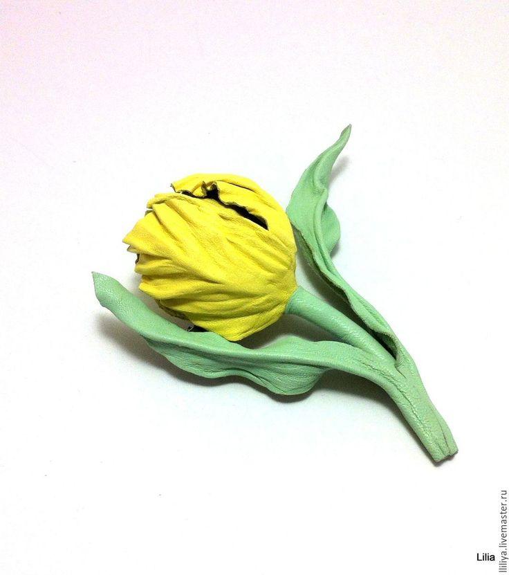 Купить Цветы из кожи. Брошь Тюльпан (mini) - брошь ручной работы, брошь из кожи