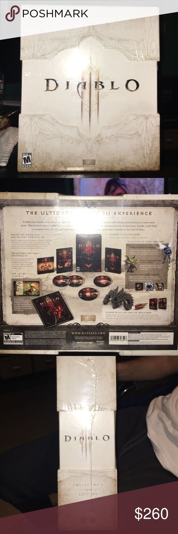 Diablo 3 Collectors Edition PC Game Sealed My Bf wants to sells his never open collectors edition on diablo 3 includes : Diablo 3 PC Game, Diablo Skull and 4 USB Soulstone, The Art Of Diablo 3, Collectors Edition Soundtrack, and Behind The Scene DVD and Blu-Ray Two Disc Set Windows / Mac Other
