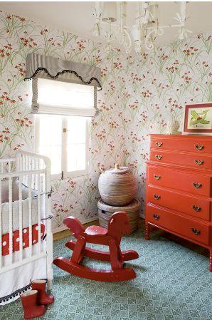nursery: Rocks Hors, Color, Paintings Dressers, Orange Dressers, Bedrooms Kids, Girls Nurseries, Girls Rooms, Kids Rooms, Scottish Terriers