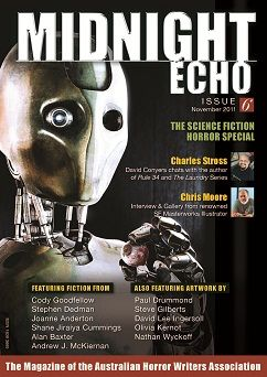"""Midnight Echo 6 by the Australian Horror Writers Association. I wrote """"Surgeon Scalpelfingers,"""" in here. I love this cover by Paul Drummond."""
