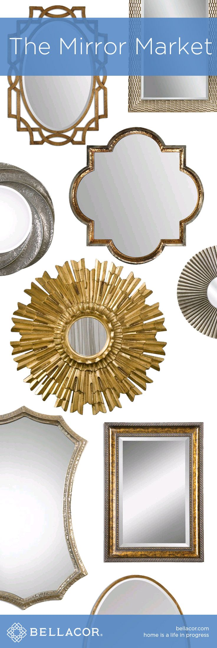 The Mirror Market - Mirrors of all Shapes and Sizes at http://www.bellacor.com/
