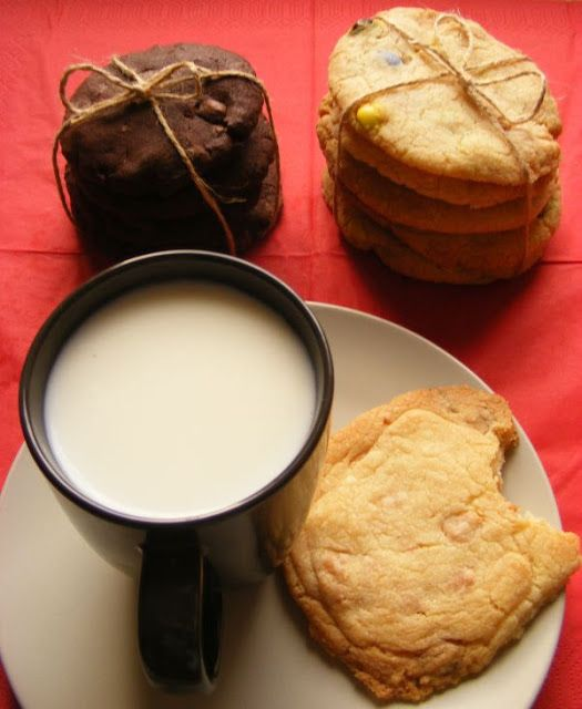 3 chewy cookies recipes - milk chocolate, smarties, white chocolate.
